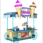 아이스크림 수레 만화 3d model