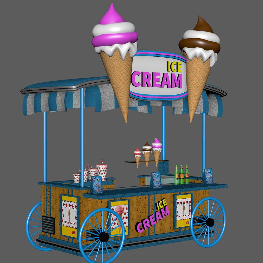 Ice Cream Wagon Cartoon royalty-free 3d model - Preview no. 12