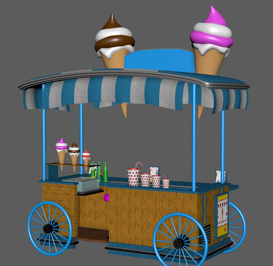 Ice Cream Wagon Cartoon royalty-free 3d model - Preview no. 16