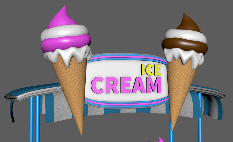 Ice Cream Wagon Cartoon royalty-free 3d model - Preview no. 14