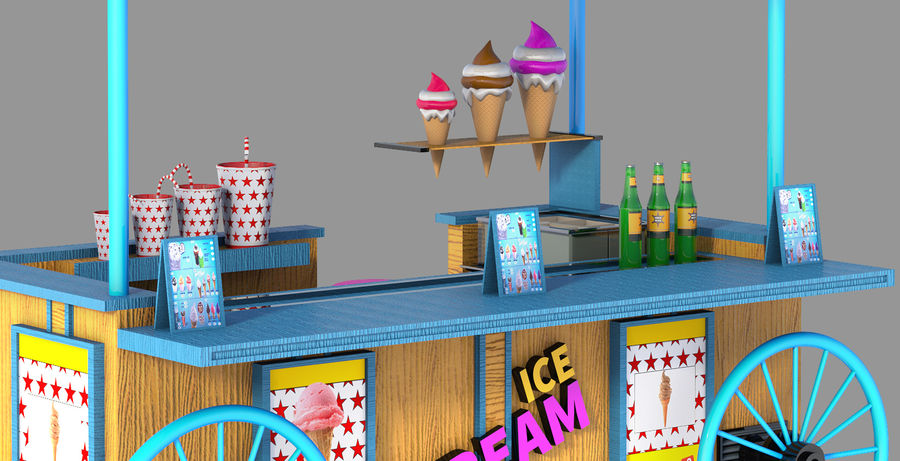 Ice Cream Wagon Cartoon royalty-free 3d model - Preview no. 6