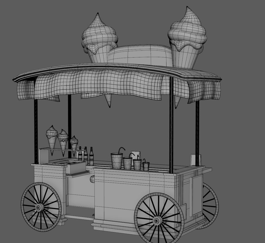 Ice Cream Wagon Cartoon royalty-free 3d model - Preview no. 17