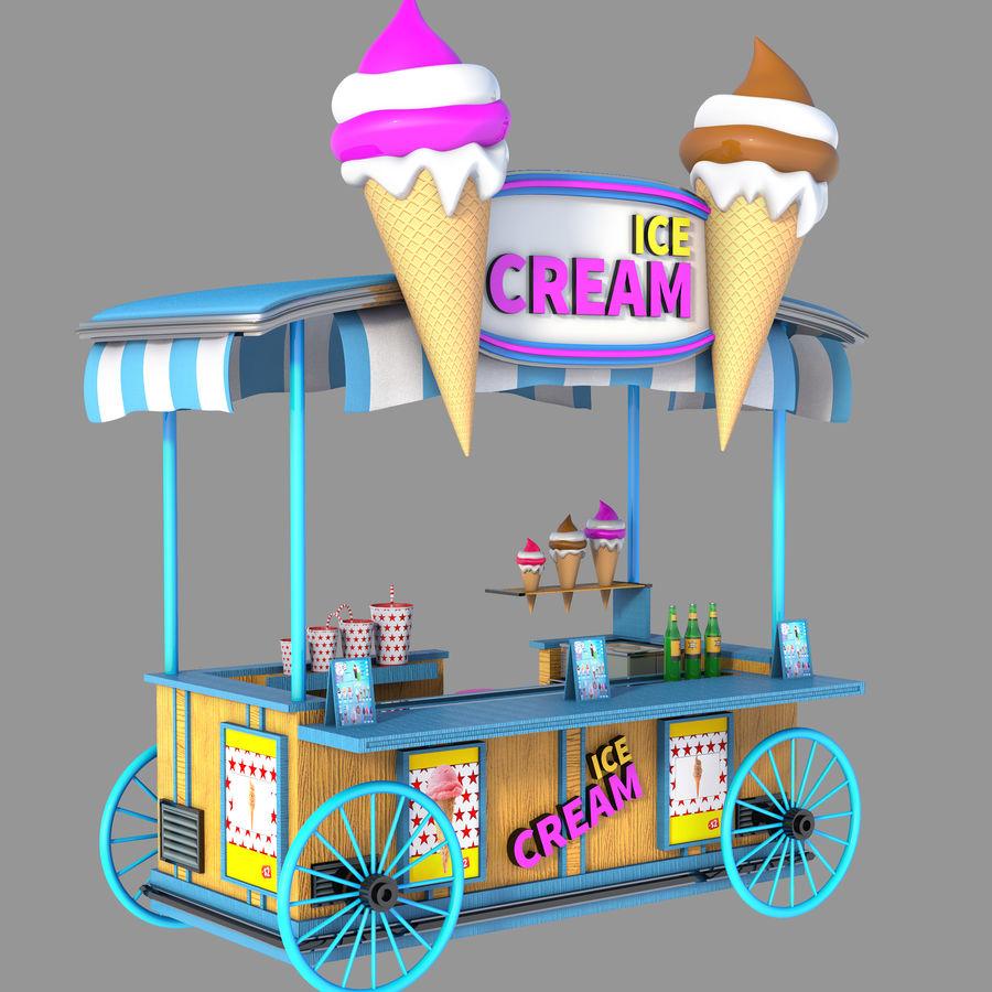 Ice Cream Wagon Cartoon royalty-free 3d model - Preview no. 2