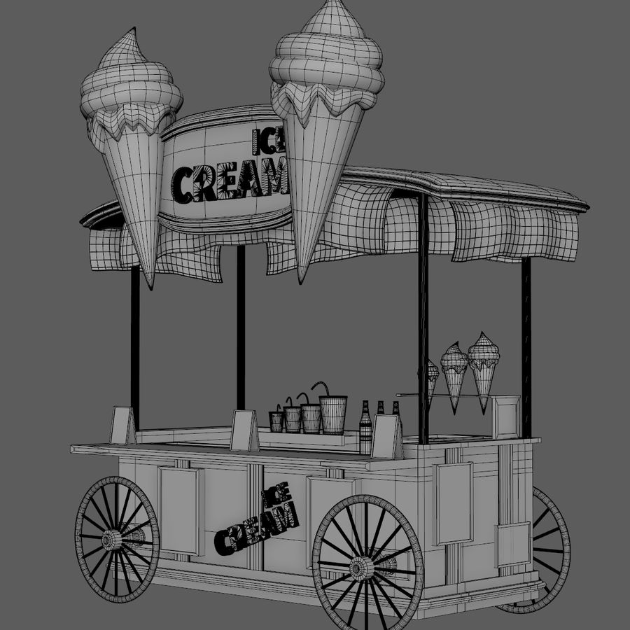 Ice Cream Wagon Cartoon royalty-free 3d model - Preview no. 9