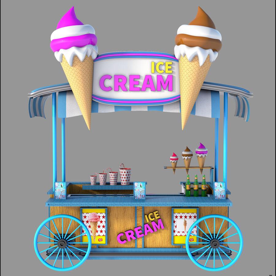 Ice Cream Wagon Cartoon royalty-free 3d model - Preview no. 4