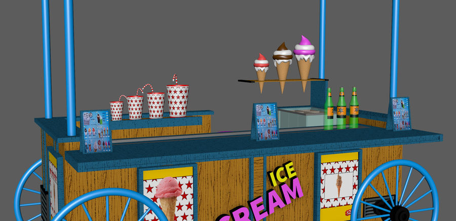 Ice Cream Wagon Cartoon royalty-free 3d model - Preview no. 10