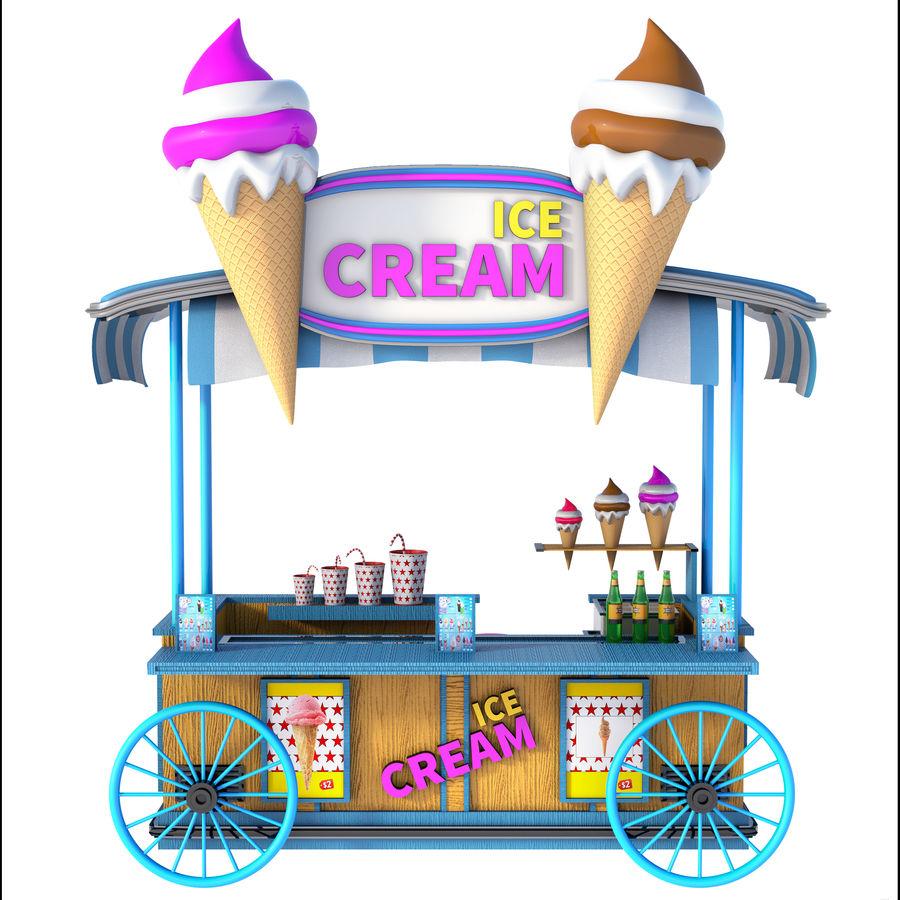 Ice Cream Wagon Cartoon royalty-free 3d model - Preview no. 3