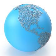 世界地図ワイヤー 3d model