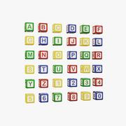 字母彩色的多维数据集-儿童字母和数字 3d model