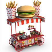 Burger Wagon Cartoon 3d model