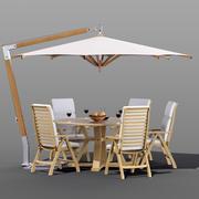 Set of garden furniture Brafab with a Garden Way umbrella 3d model