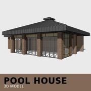 Dom przy basenie 3d model
