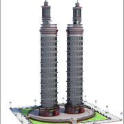 Twin Skyscraper Towers 3d model