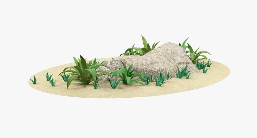 Мультфильм трава и камень royalty-free 3d model - Preview no. 10