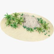 Dibujos animados de hierba y piedra modelo 3d