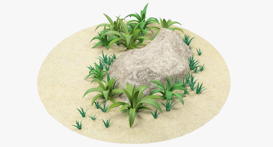 Мультфильм трава и камень royalty-free 3d model - Preview no. 5
