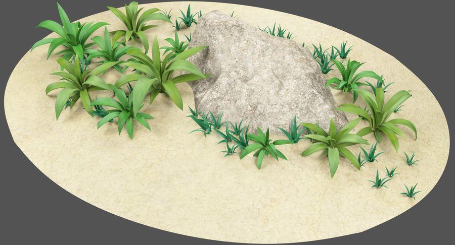 Мультфильм трава и камень royalty-free 3d model - Preview no. 3