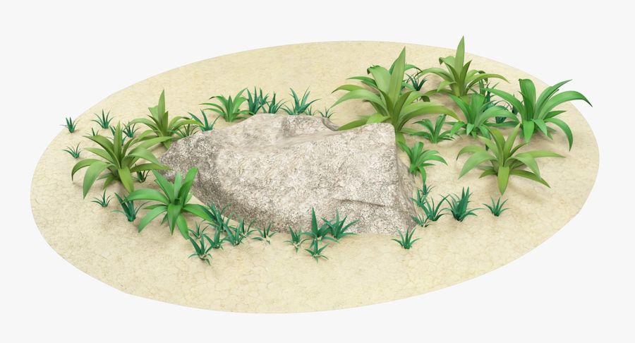 Мультфильм трава и камень royalty-free 3d model - Preview no. 6