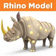 卡通犀牛低聚 3d model