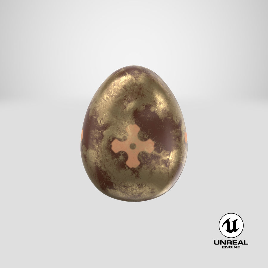 Brown Easter Egg royalty-free 3d model - Preview no. 22