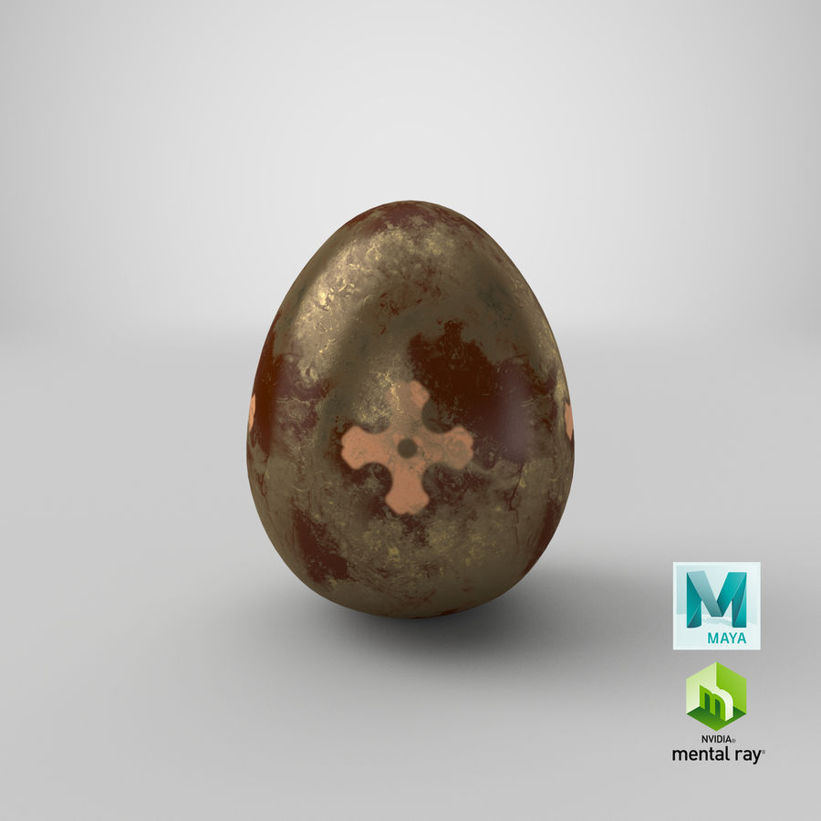 Brown Easter Egg royalty-free 3d model - Preview no. 18