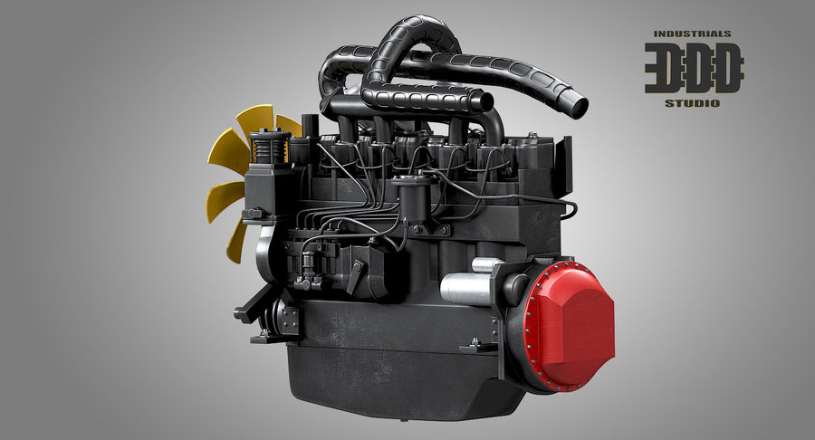 Diesel Engine royalty-free 3d model - Preview no. 3