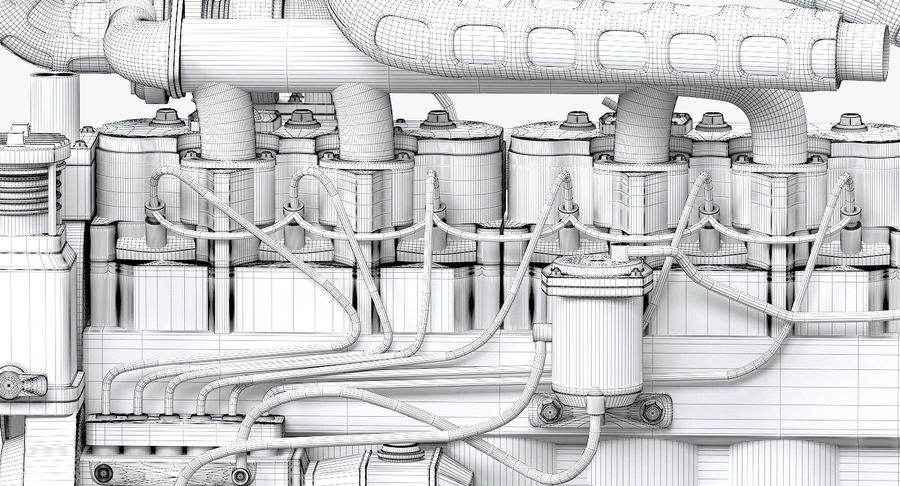 Diesel Engine royalty-free 3d model - Preview no. 9
