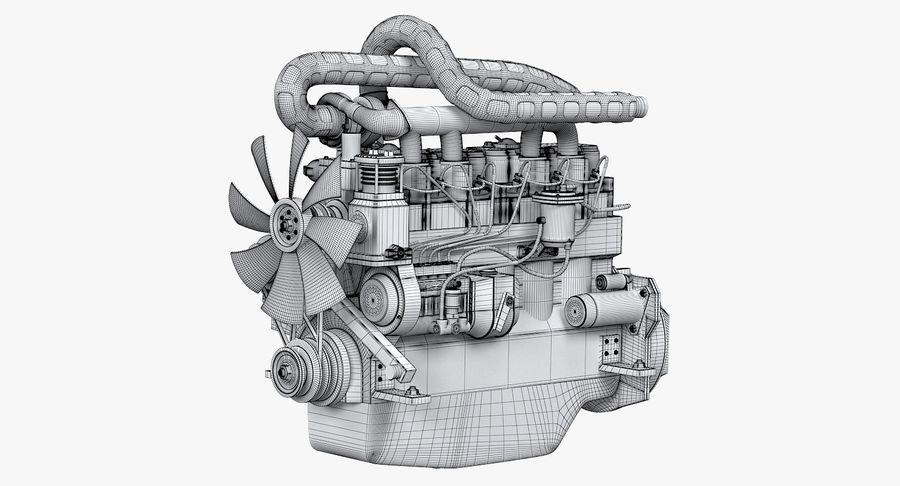 Diesel Engine royalty-free 3d model - Preview no. 7
