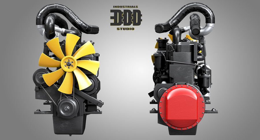 Diesel Engine royalty-free 3d model - Preview no. 4