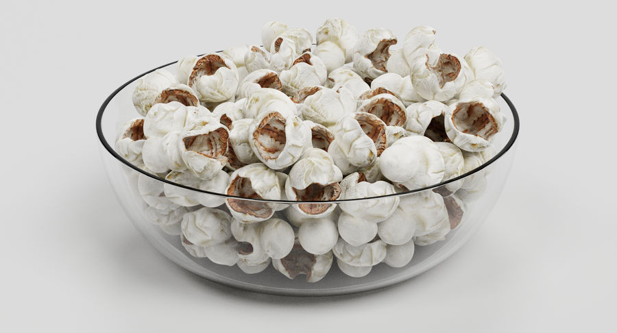 Popcorn in Bowl royalty-free 3d model - Preview no. 4