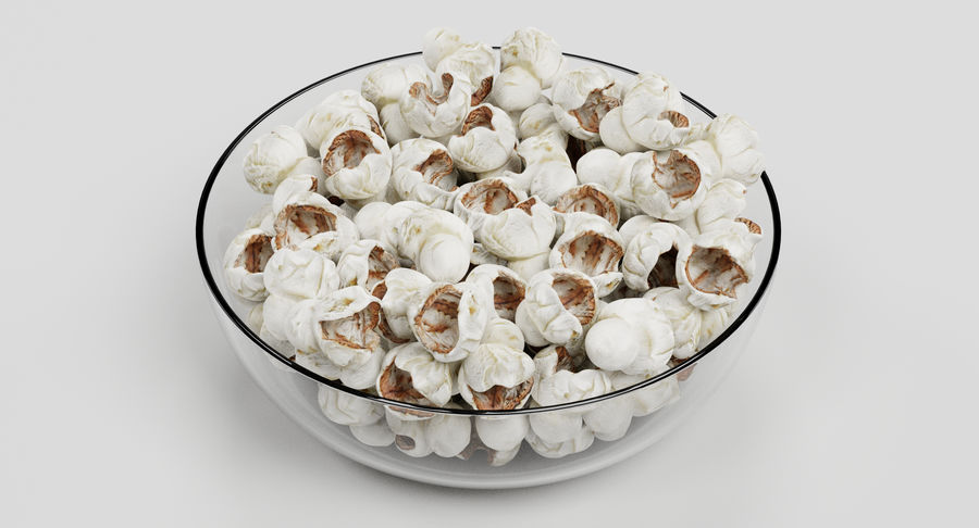 Popcorn in Bowl royalty-free 3d model - Preview no. 3