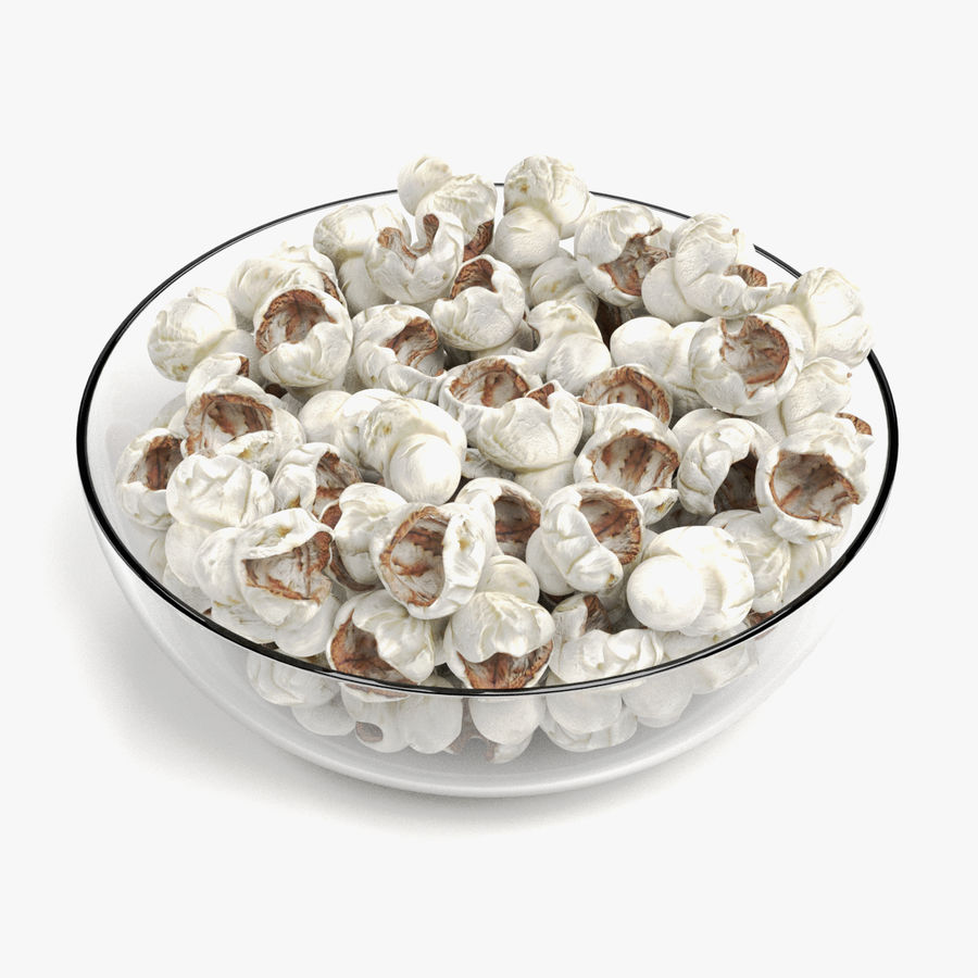 Popcorn in Bowl royalty-free 3d model - Preview no. 1