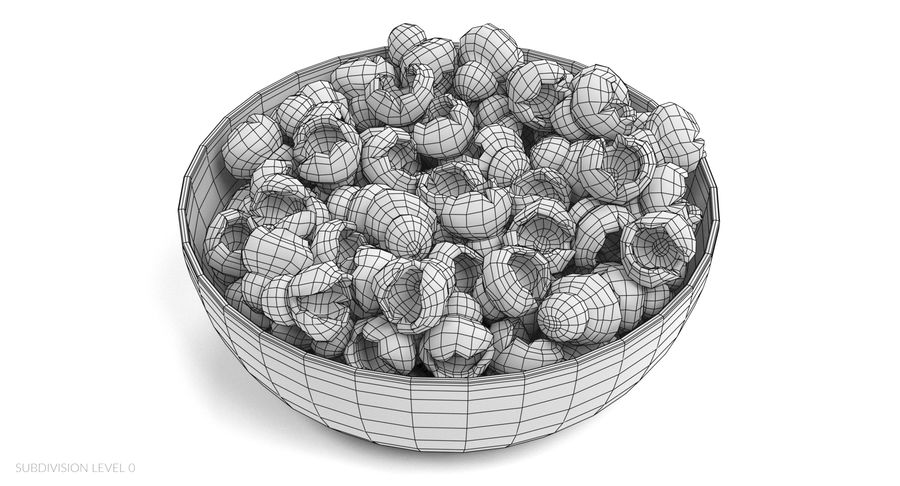 Popcorn in Bowl royalty-free 3d model - Preview no. 10