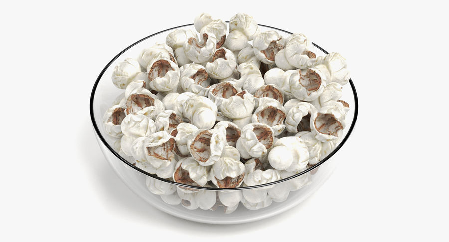 Popcorn in Bowl royalty-free 3d model - Preview no. 2