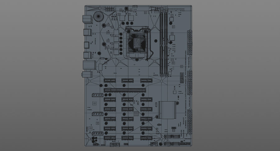 Asus B250 Mining Expert royalty-free 3d model - Preview no. 14