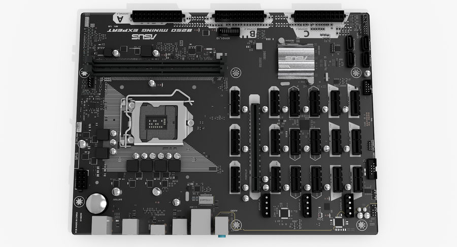 Asus B250 Mining Expert royalty-free 3d model - Preview no. 7