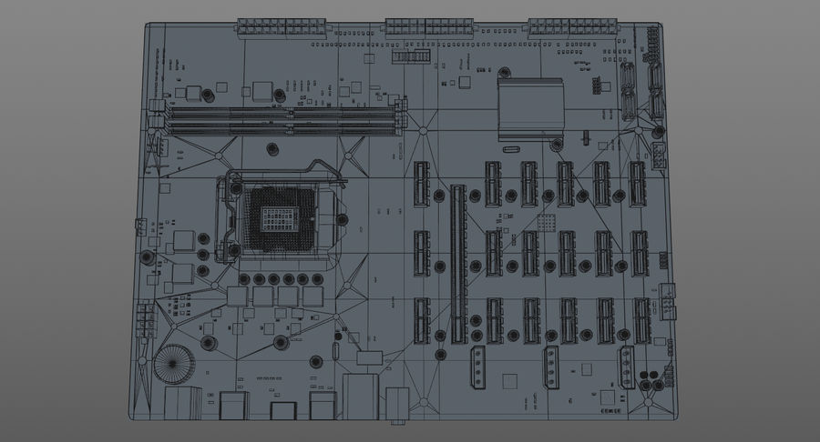 Asus B250 Mining Expert royalty-free 3d model - Preview no. 13