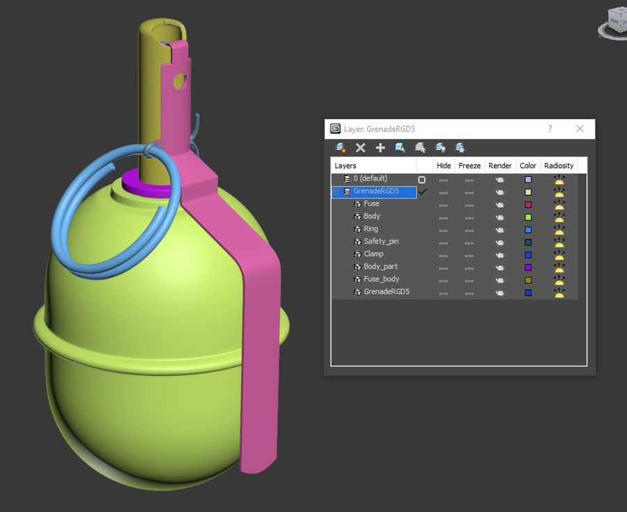Grenade RGD 5 royalty-free 3d model - Preview no. 14