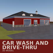 Car Wash and Drive-Thru 3d model