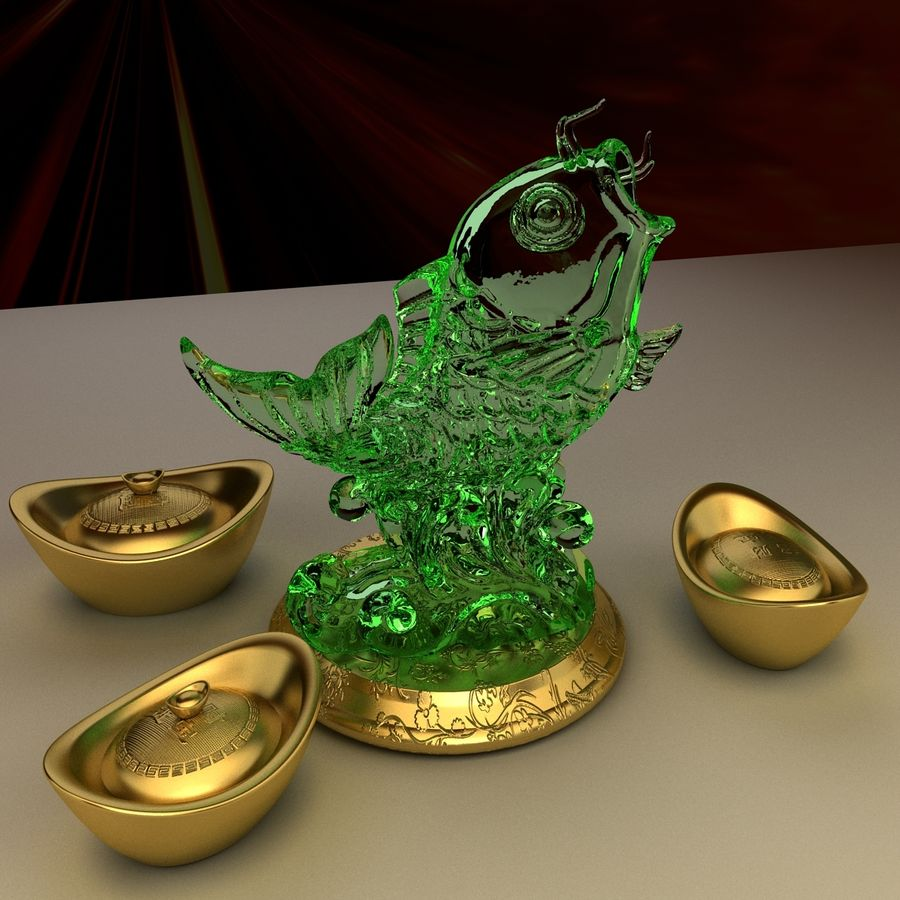 Chinese gold ingot royalty-free 3d model - Preview no. 7