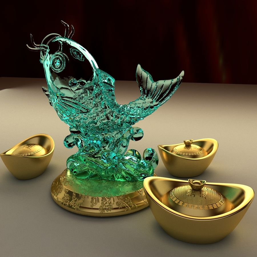 Chinese gold ingot royalty-free 3d model - Preview no. 6