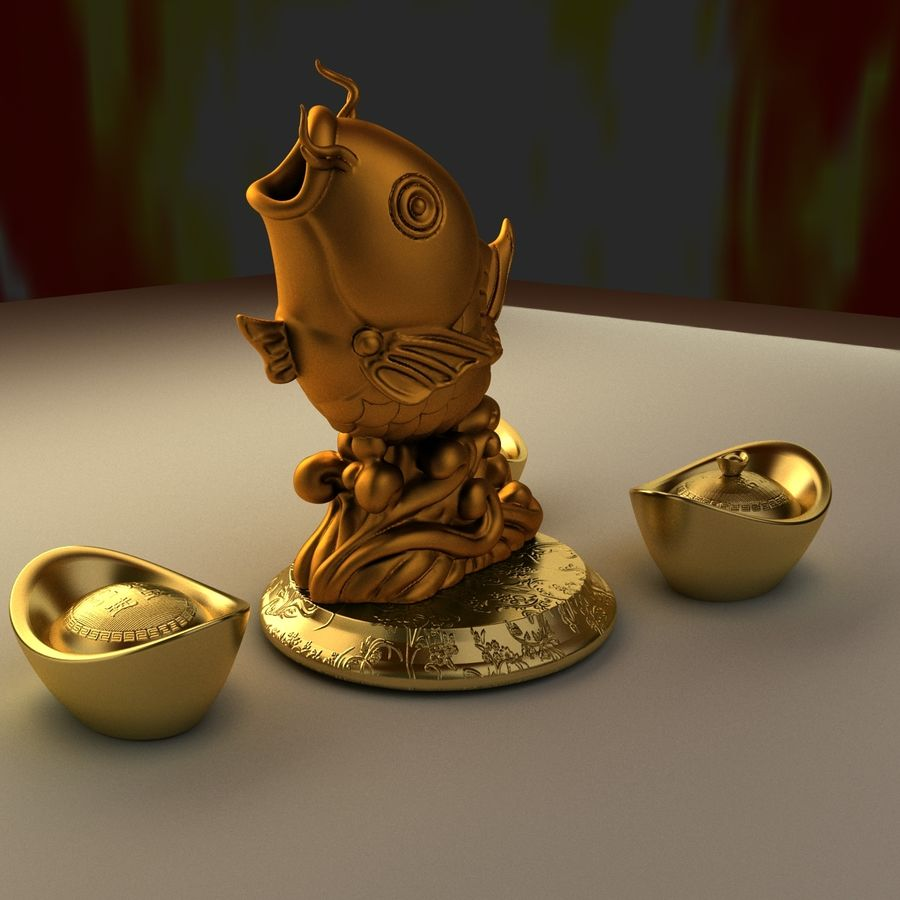 Chinese gold ingot royalty-free 3d model - Preview no. 4