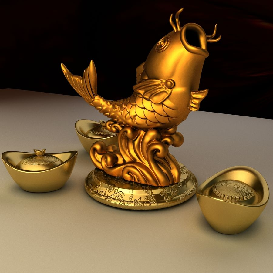 Chinese gold ingot royalty-free 3d model - Preview no. 2