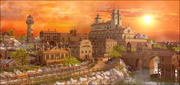 "Fantasy ""Vilassar de Marc"" Town Sunset 3d model"