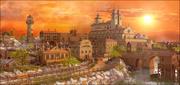 Fantasie 'Vilassar de Marc' stadszonsondergang 3d model