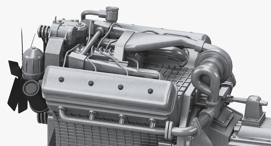 Дизель V8 Двигатель ЯМЗ royalty-free 3d model - Preview no. 11