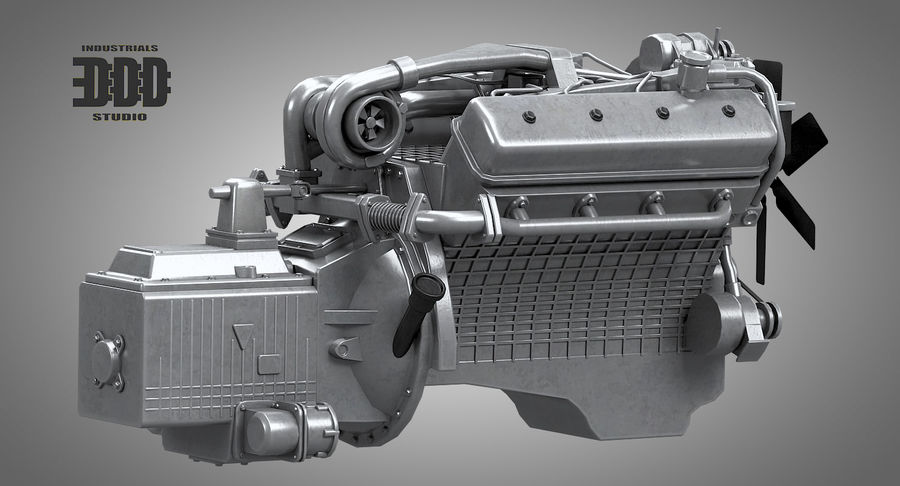 Дизель V8 Двигатель ЯМЗ royalty-free 3d model - Preview no. 3