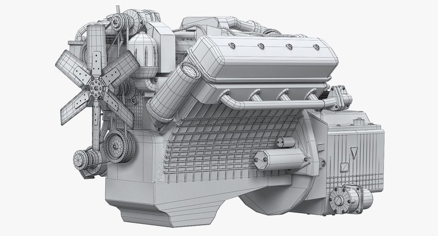 Дизель V8 Двигатель ЯМЗ royalty-free 3d model - Preview no. 7