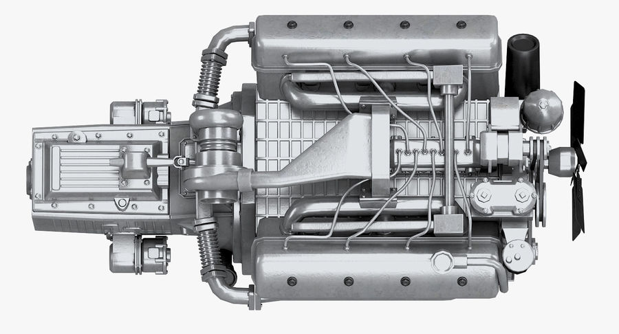 Дизель V8 Двигатель ЯМЗ royalty-free 3d model - Preview no. 12