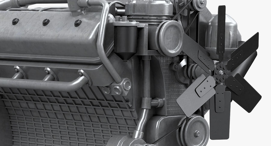 Дизель V8 Двигатель ЯМЗ royalty-free 3d model - Preview no. 4